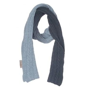 Club Monaco ombré blue tones dip dyed 100% lambs wool cable knit scarf